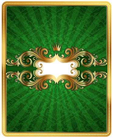 Green vector pattern background with golden frame Vector