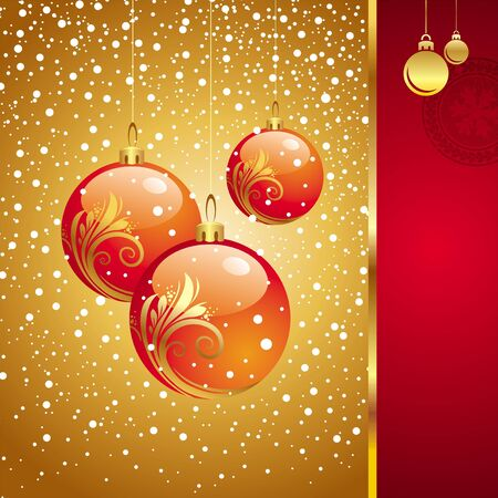 new year scroll: Vector Christmas card with holidays toys