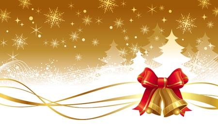 jingle bells: Christmas vector  illustration with golden hand bells