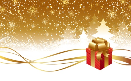 golden ribbons: Vector Christmas winter landscape and gift box with golden bow Illustration