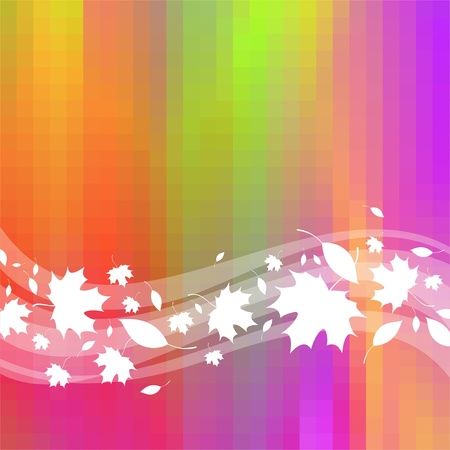 Colorful vector background with waves & maple leaves Stock Vector - 9903058