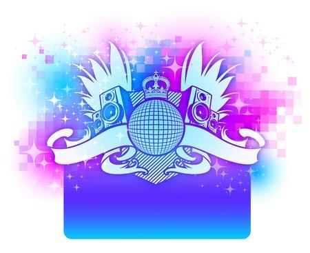 subwoofer: Vector Colorful design con araldica discoteca musica