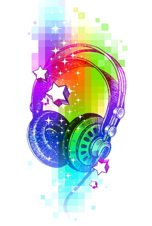Colorful vector design with hand drawn headphones Vector