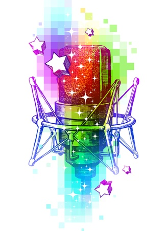 sonic: Colorful vector design with hand drawn studio microphones