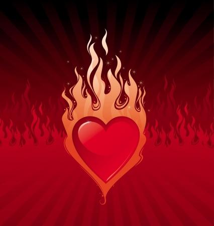 Vektor-Illustration - Abfackeln Valentines Herzen