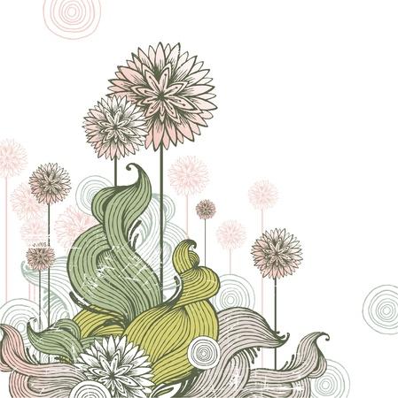 lineal: Mano floral dibujado ilustración vectorial