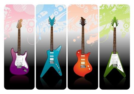 Set of electro guitars Vector