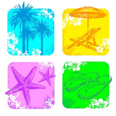 sandal tree: Vector tropical marco con mano dibuja elementos