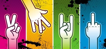 idiomas: Ilustraci�n vectorial - signo de mano