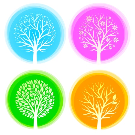 snow fall: Four seasons vector trees
