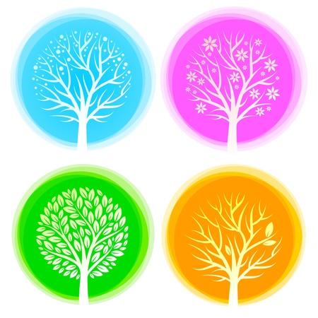quatre saisons: Quatre saisons de vecteurs arbres Illustration