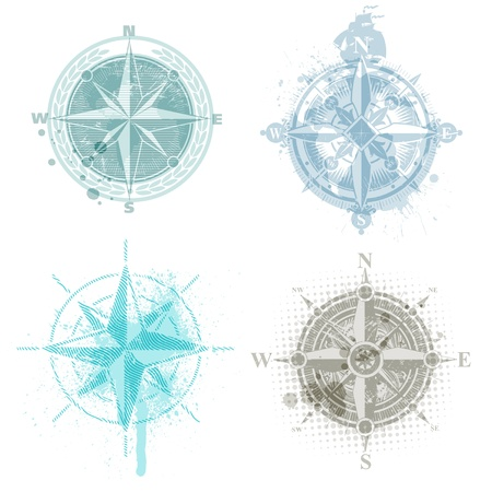 nautical vessel: Four vector compass rose