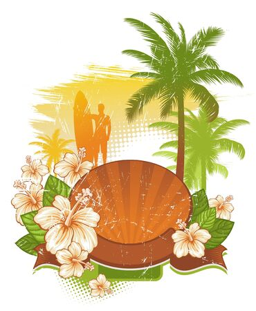 surfing: Vector frame & banner with tropical flowers & palms