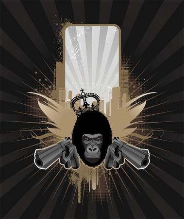 criminal: Vector frame for text with gorilla head & guns