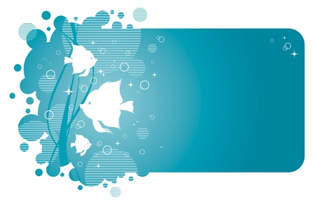 small fishes: Vector frame with aqua design