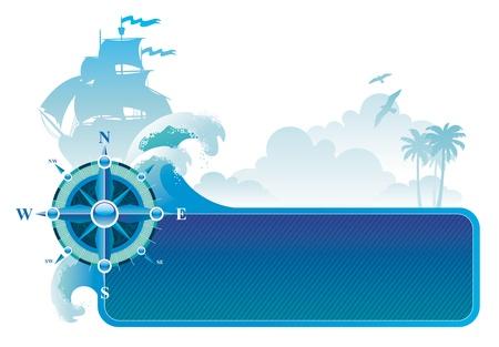 marine bird: Aventuras de vectores & viajar marco con br�jula rose