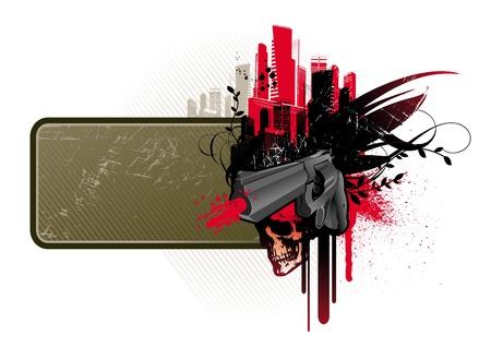 geweer: Vector frame met pistool & schedel