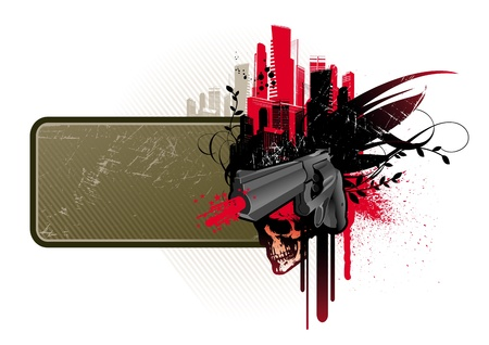gangsta: Vector frame with gun & skull Illustration