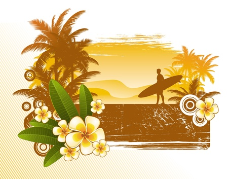 frangipanis: Frangipani flowers and surfer silhouette - vector illustration