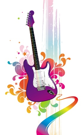 Colorful vector illustration with funny guitar Vector