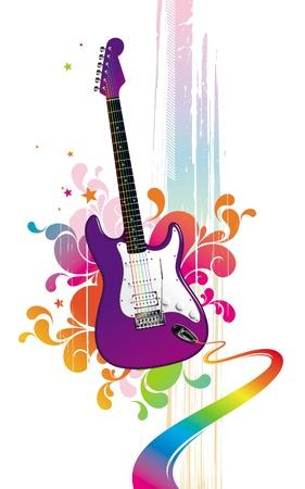 acustica: Illustrazione vettoriale colorato con divertente chitarra