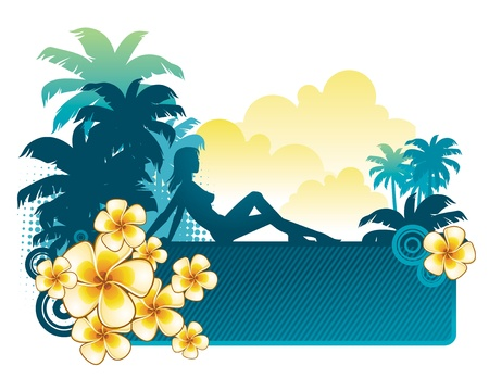 tropical climate: Frangipani flowers & silhouette of a girl on a tropical landscape - vector illustration