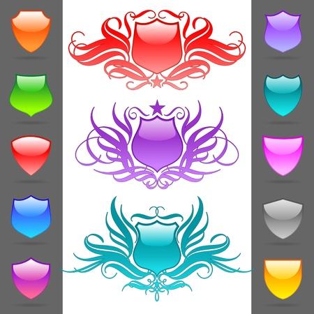 escudo de armas: Escudos her�ldicos de vector brillante