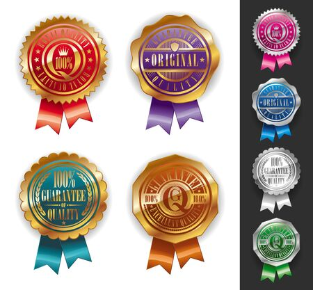 Vector Gold and silver quality seals Vector