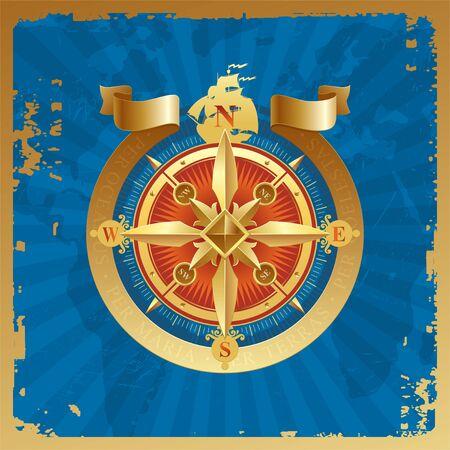 topografia: Golden compass aument� en un fondo de mapa del mundo grunge