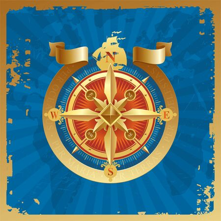 Golden compass rose on a grunge world map background Vector