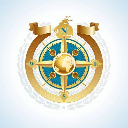 kompassrose: Vector goldene Windrose mit Globus und Farbband