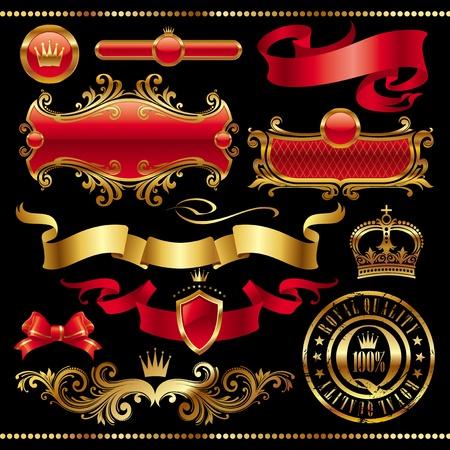 escudo de armas: Conjunto de vectores - elemento de oro dise�o real Vectores