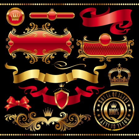 Vector set - Golden royal design element Stock Vector - 9903087