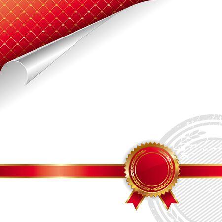 diploma: Dise�o real de oro & rojo con sello de calidad - ilustraci�n vectorial