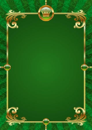green frame: Green vector background with golden luxury frame