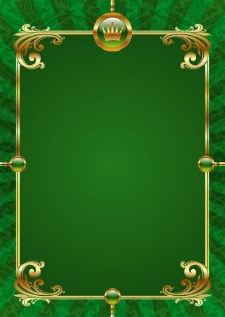 nobile: Sfondo verde vettoriale con cornice dorata di lusso Vettoriali