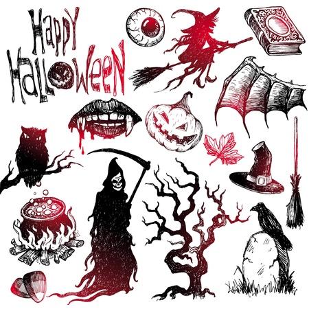 Conjunto de vectores dibujados a mano Halloween y horror Ilustración de vector
