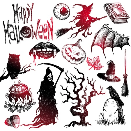 halloween eyeball: Halloween and horror hand drawn vector set