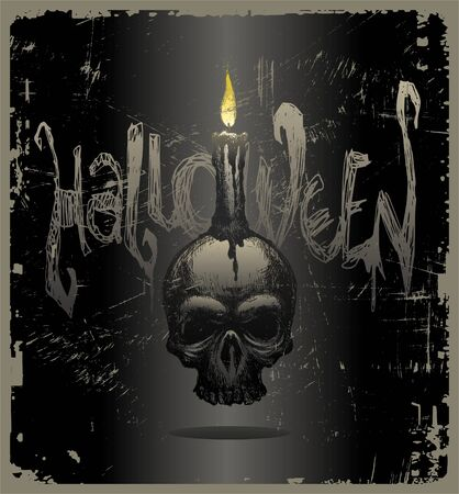 fire skull: Halloween vector illustration with hand drawn skull & candle