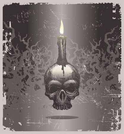 Halloween vector illustration with hand drawn skull and candle Vector