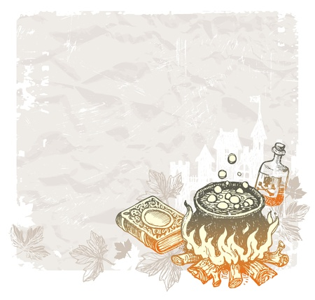 boils: Halloween vector wintage background with hand drawn magic objects