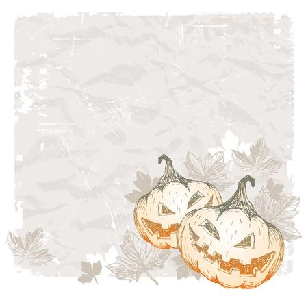 helloween: Halloween vector wintage background with hand drawn pumpkins