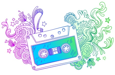 Vector hand drawn audio cassette with line art decor Vector