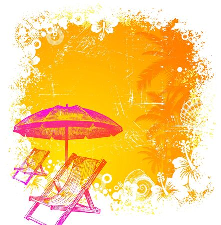 Hand drawn beach chair and umbrella on a tropical grunge background - vector illustration Stock Vector - 9903160
