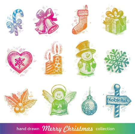 bell: Hand drawn Christmas holiday vector set Illustration