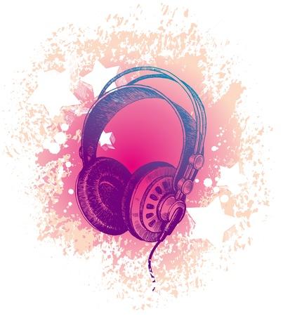 Vector hand drawn dj's headphones Stock Vector - 9903133
