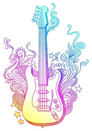 acustica: Disegnata a mano la chitarra elettro vettoriale