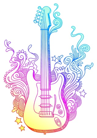 guitar illustration: Hand drawn vector electro guitar