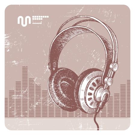 recording studio: Hand drawn vector headphones Illustration