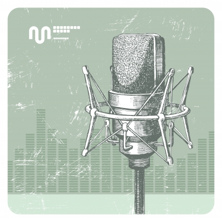 radio microphone: Hand drawn vector studio condenser microphone Illustration